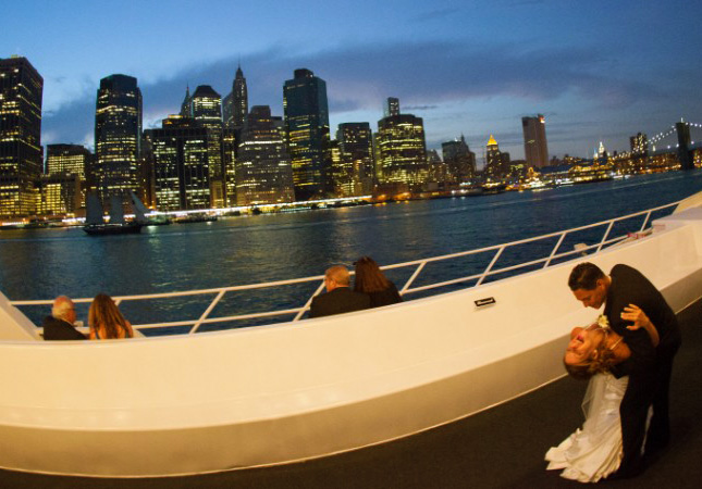 new york skyline sunset on yacht